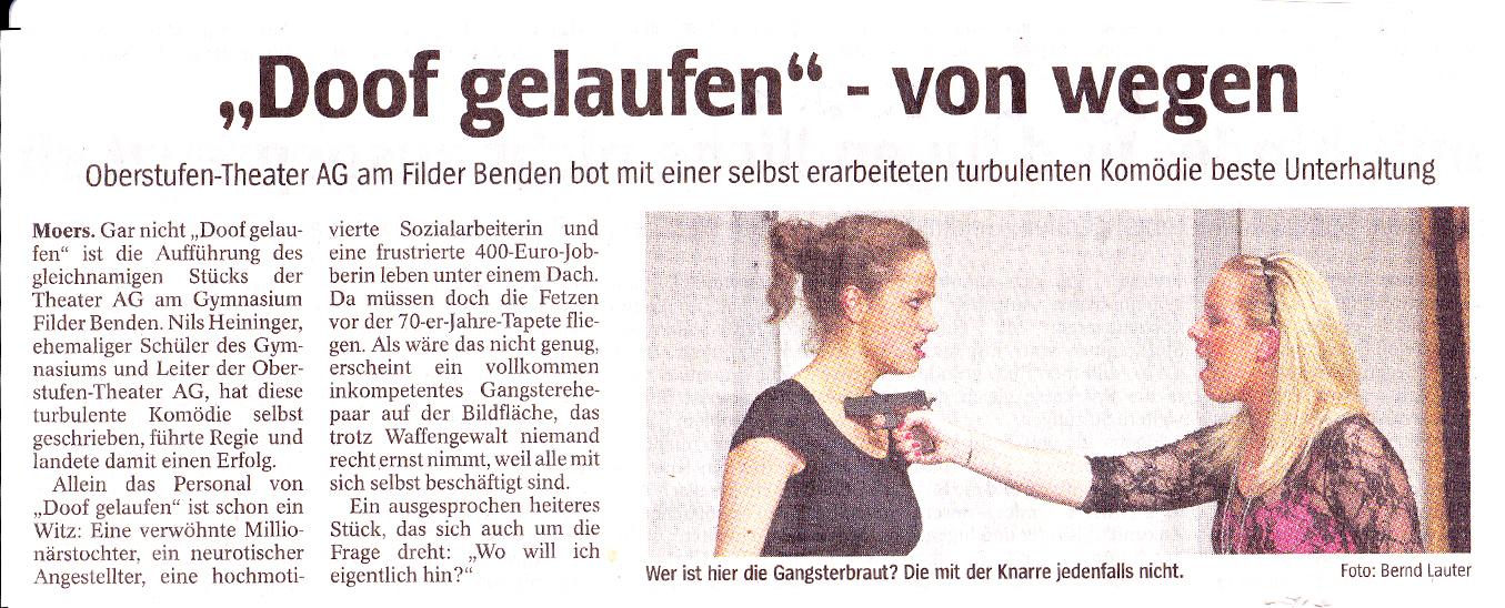 doof gelaufen / Aufführungsbericht / Autor: Nils Heiliger