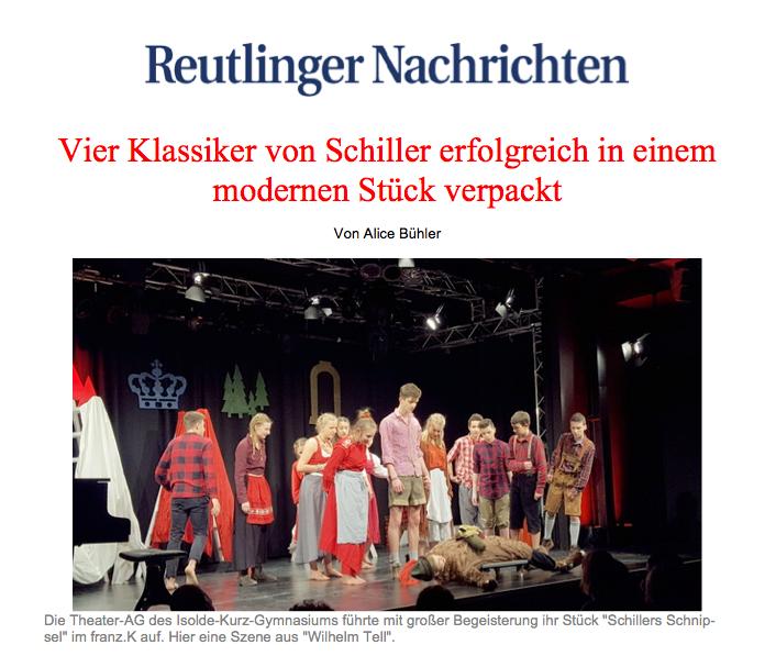 Die Theater-AG des Isolde-Kurz-Gymnasiums